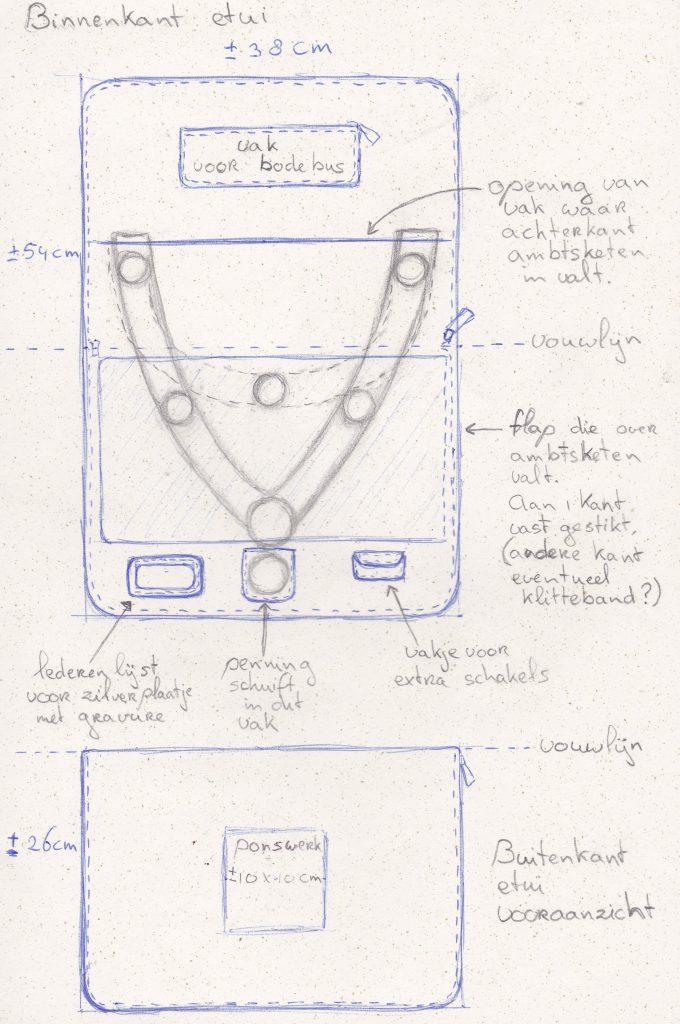 schets ontwerp etui ambtsketen